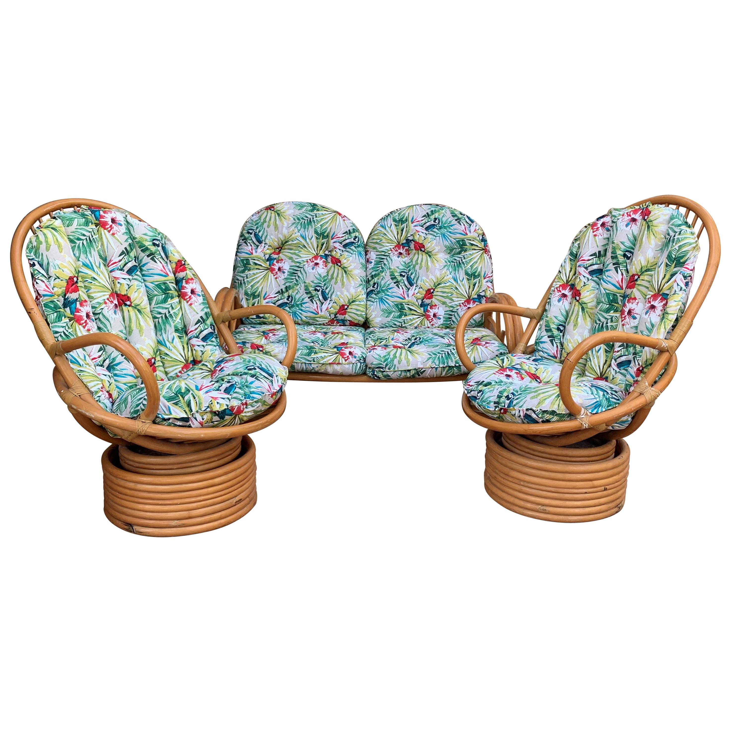 Italian Mid-Century Modern Bamboo Set of Lounge Patio with Settee and Rocking