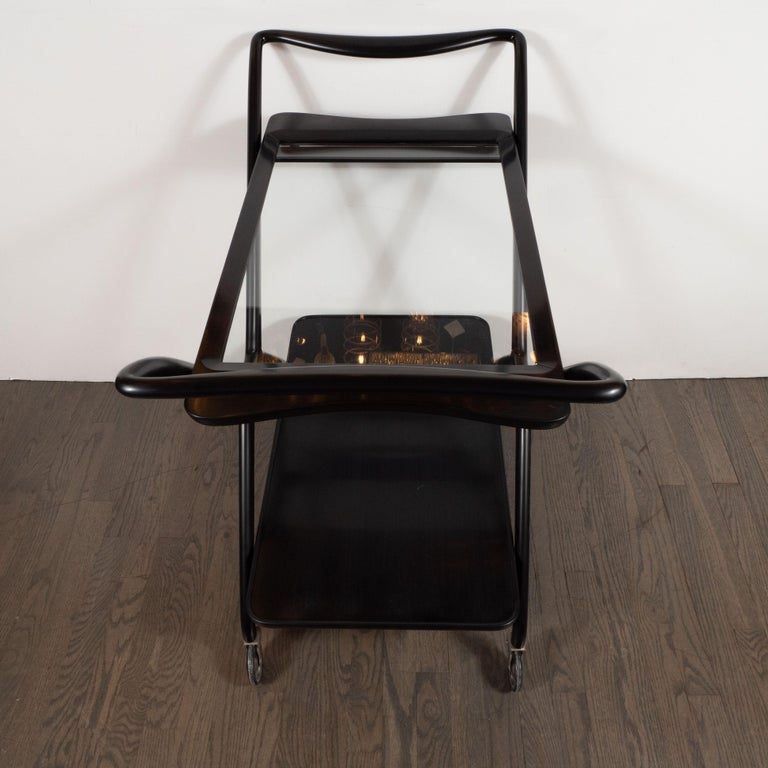 Italian Mid-Century Modern Bar Cart in Ebonized Walnut by Ico Parisi For Sale 5