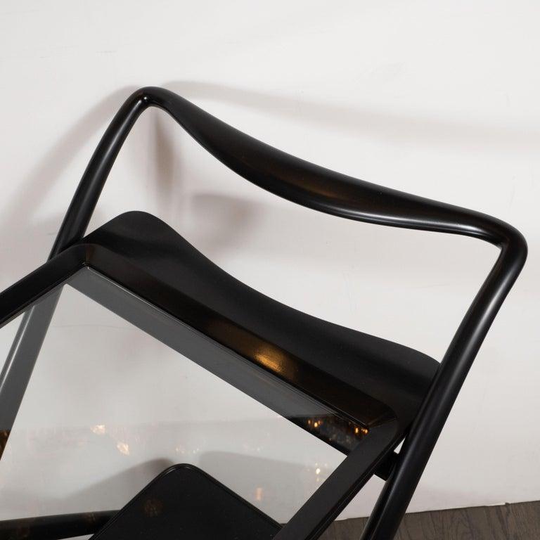 Italian Mid-Century Modern Bar Cart in Ebonized Walnut by Ico Parisi For Sale 6