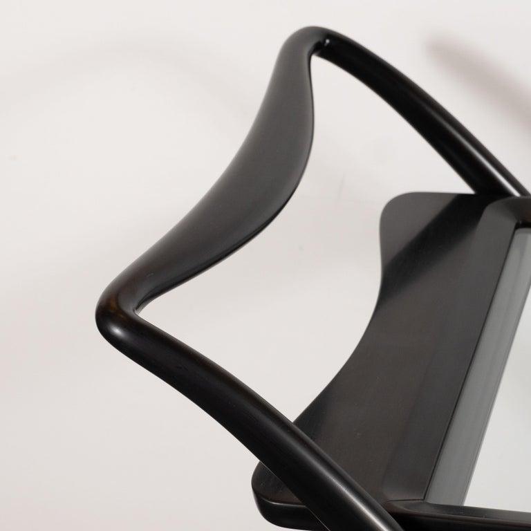 Glass Italian Mid-Century Modern Bar Cart in Ebonized Walnut by Ico Parisi For Sale