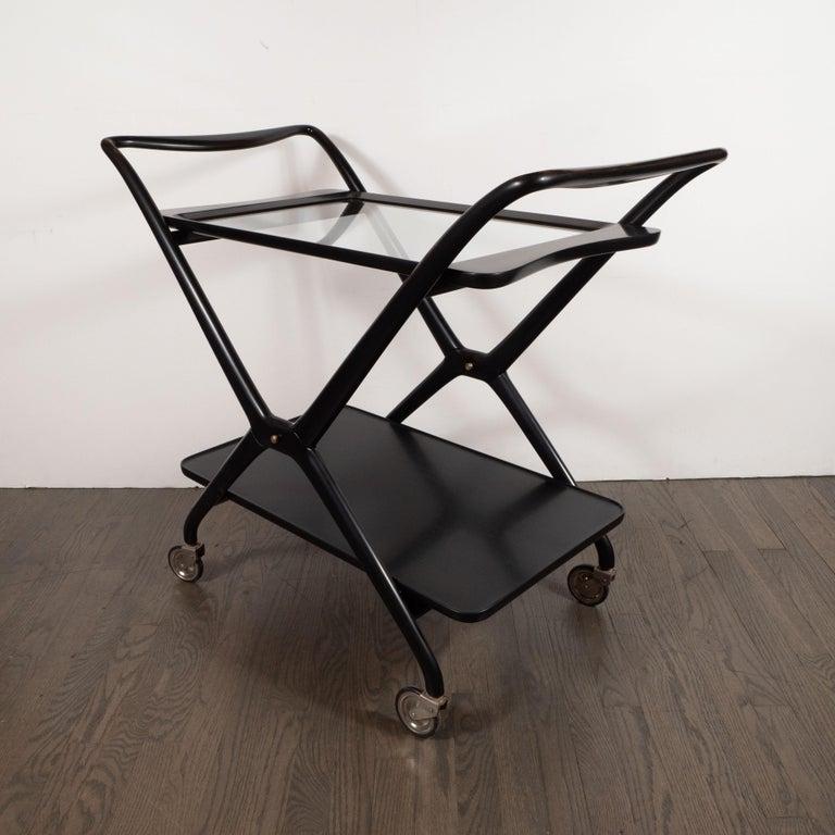 Italian Mid-Century Modern Bar Cart in Ebonized Walnut by Ico Parisi For Sale 1
