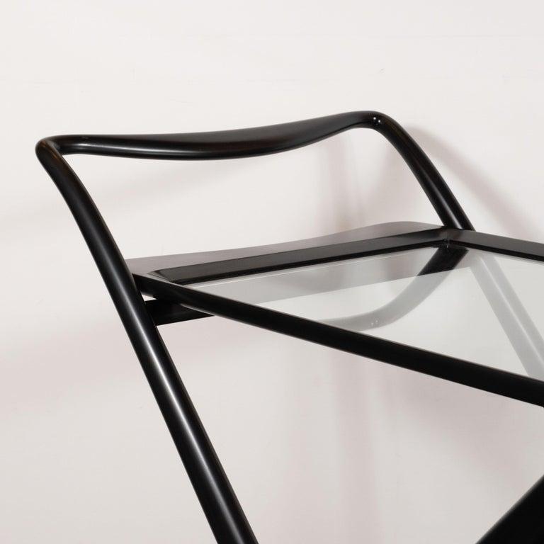 Italian Mid-Century Modern Bar Cart in Ebonized Walnut by Ico Parisi For Sale 2