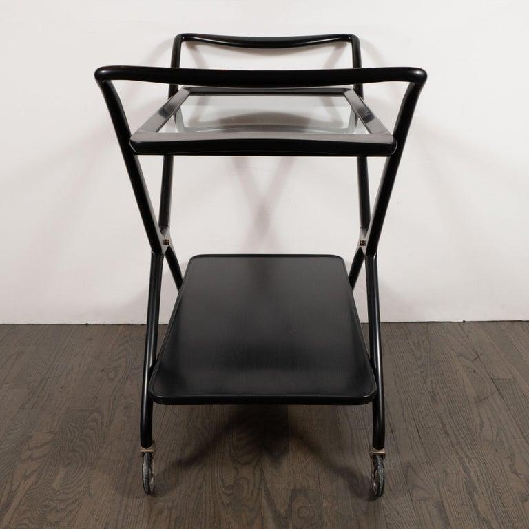 Italian Mid-Century Modern Bar Cart in Ebonized Walnut by Ico Parisi For Sale 3
