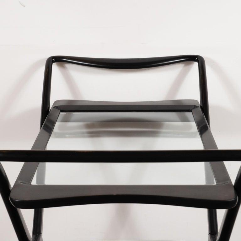Italian Mid-Century Modern Bar Cart in Ebonized Walnut by Ico Parisi For Sale 4