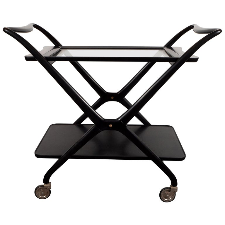 Italian Mid-Century Modern Bar Cart in Ebonized Walnut by Ico Parisi For Sale