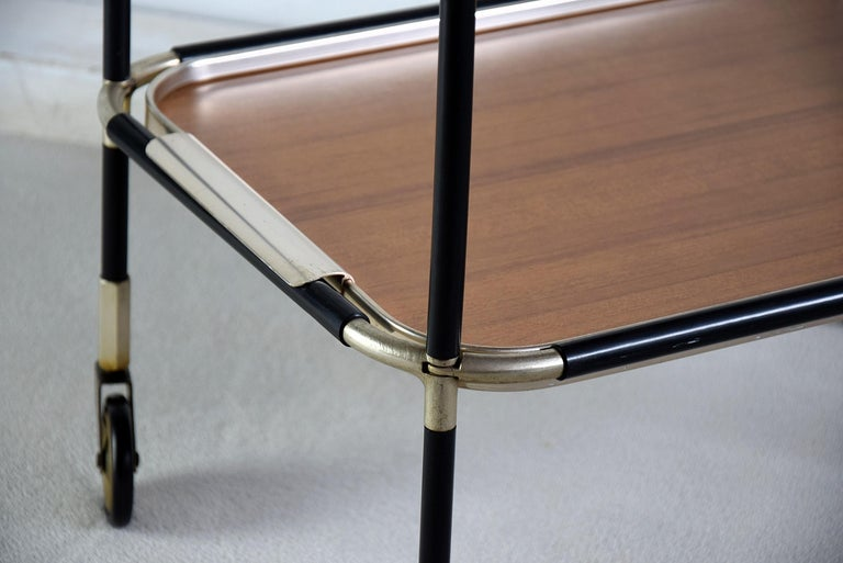 Italian Mid-Century Modern Bar Trolley In Good Condition For Sale In Weesp, NL