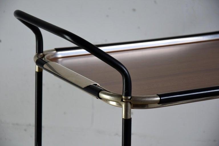 Aluminum Italian Mid-Century Modern Bar Trolley For Sale