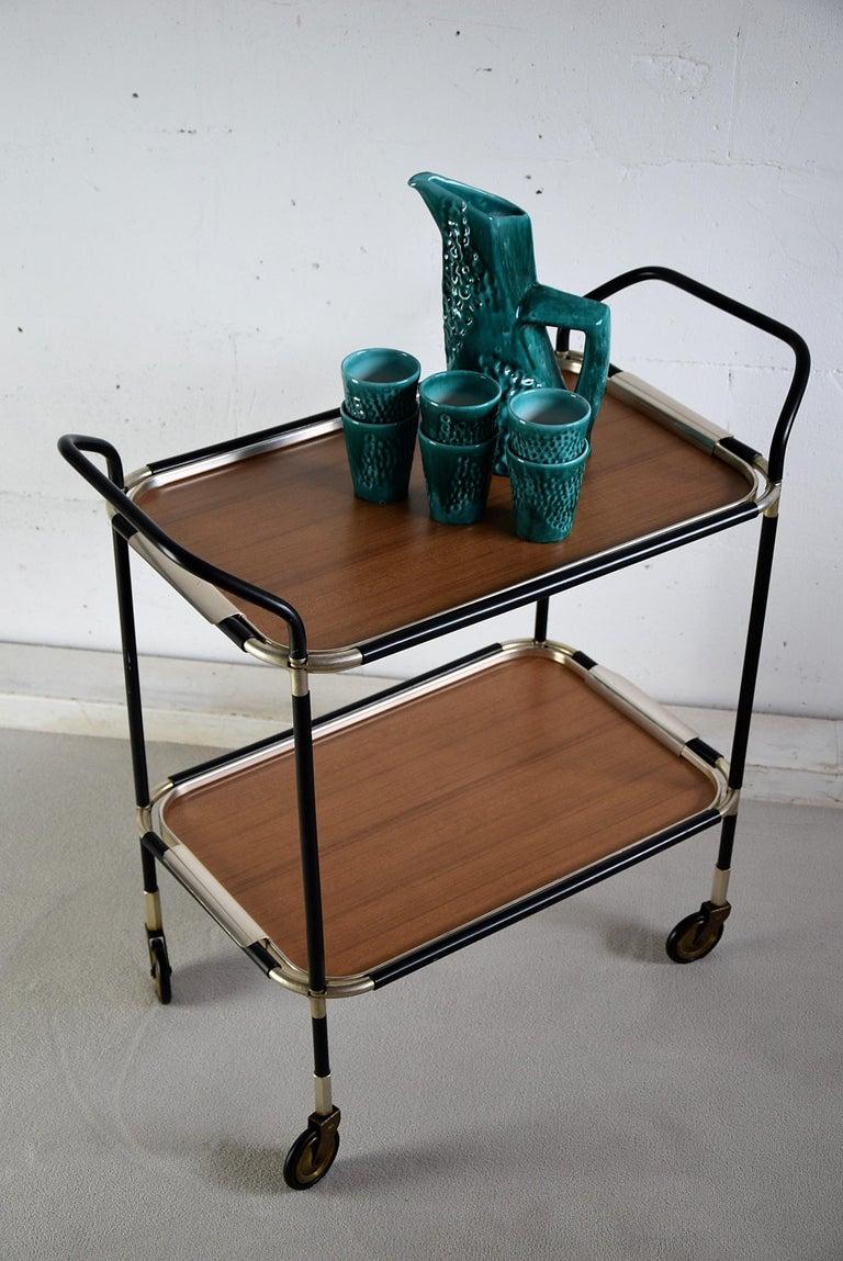 Italian Mid-Century Modern Bar Trolley For Sale 3