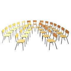 Italian Mid-Century Modern Beech and Metal School Chairs, 1960s