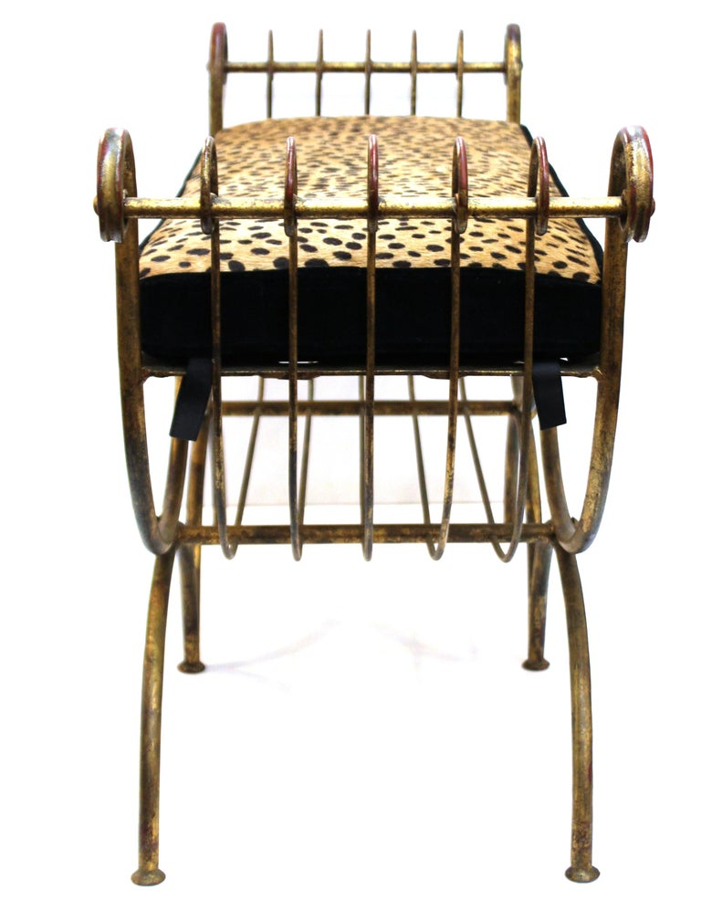 Italian Mid-Century Modern Bench in Gilt Iron with Faux Leopard Leather Seat In Good Condition For Sale In New York, NY