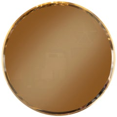 Italian Mid-Century Modern Beveled Circular Brass Wrapped Wall Mirror