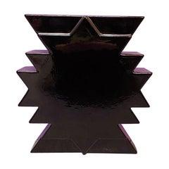Italian Mid-Century Modern Black Ceramic Vase Y28 by Ettore Sottsass, 1980s
