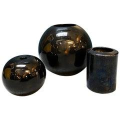 Italian Mid-Century Modern Black Glazed Ceramic Vases, 1970s