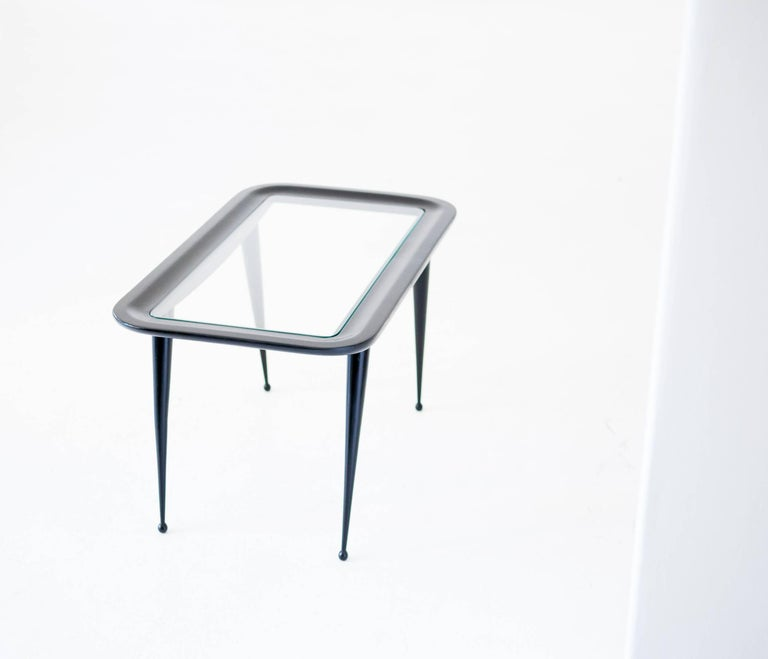 Italian Mid-Century Modern Wood And Glass Coffee Table