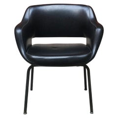 Italian Mid-Century Modern Black Leather Armchair by Cassina, 1970s
