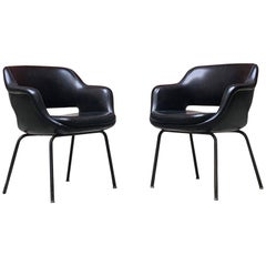 Italian Mid-Century Modern Black Leather Armchairs by Cassina, 1970s