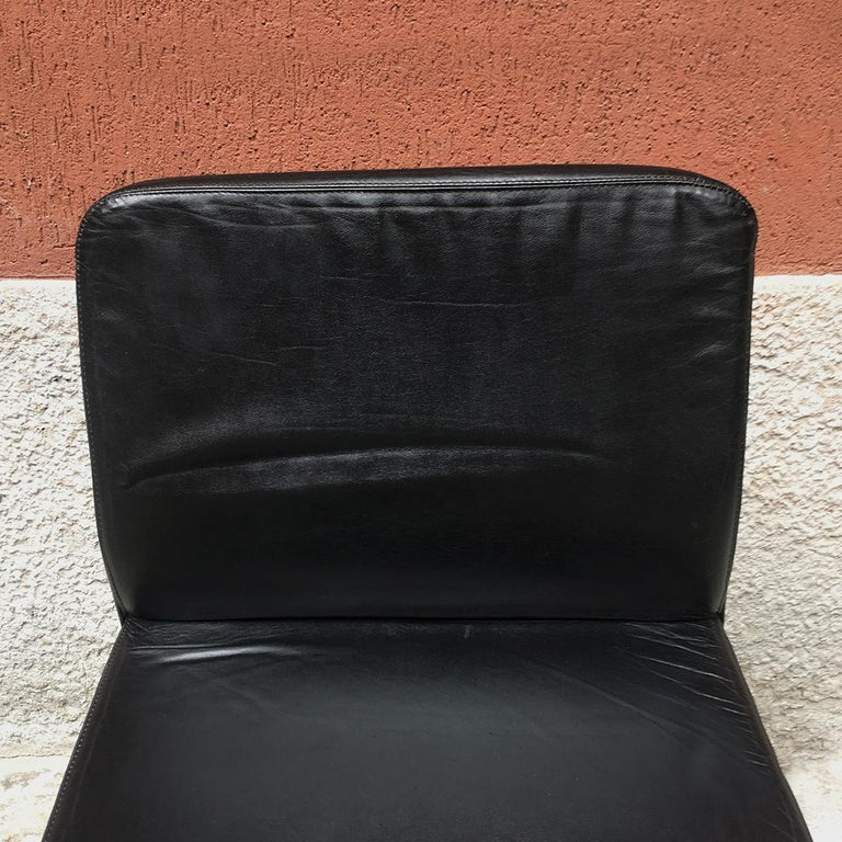 Italian Mid-Century Modern Black Leather Chair with Chromed Structure, 1970s For Sale 6