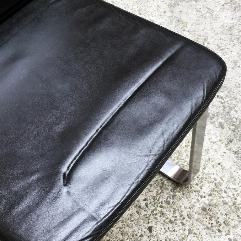Italian Mid-Century Modern Black Leather Chair with Chromed Structure, 1970s For Sale 8