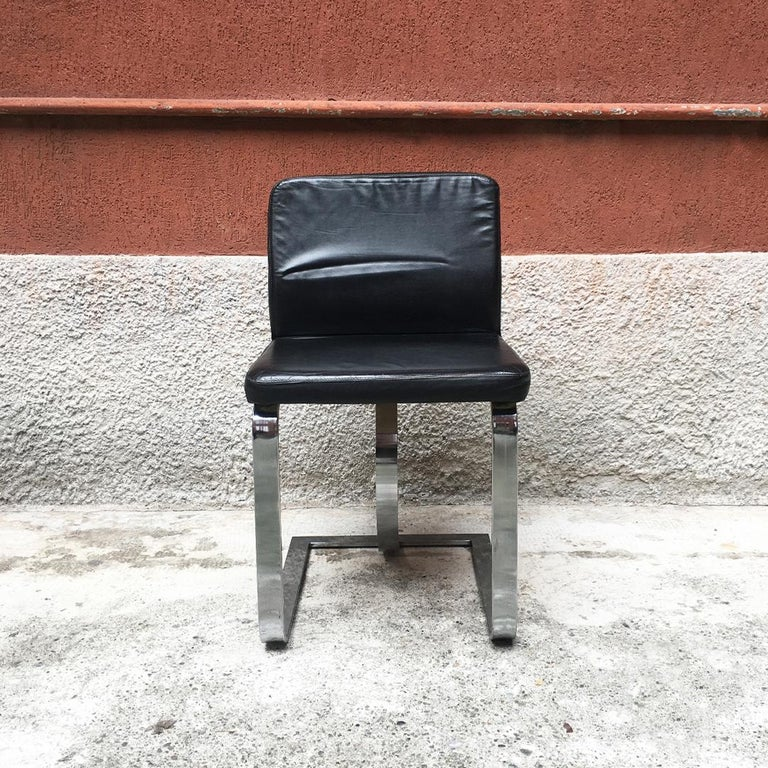 Late 20th Century Italian Mid-Century Modern Black Leather Chair with Chromed Structure, 1970s For Sale