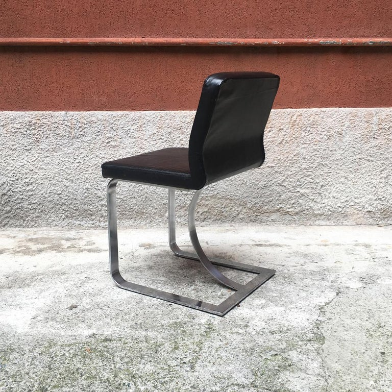 Italian Mid-Century Modern Black Leather Chair with Chromed Structure, 1970s For Sale 1