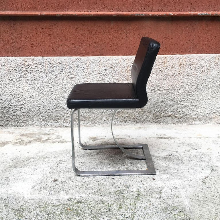 Italian Mid-Century Modern Black Leather Chair with Chromed Structure, 1970s For Sale 3
