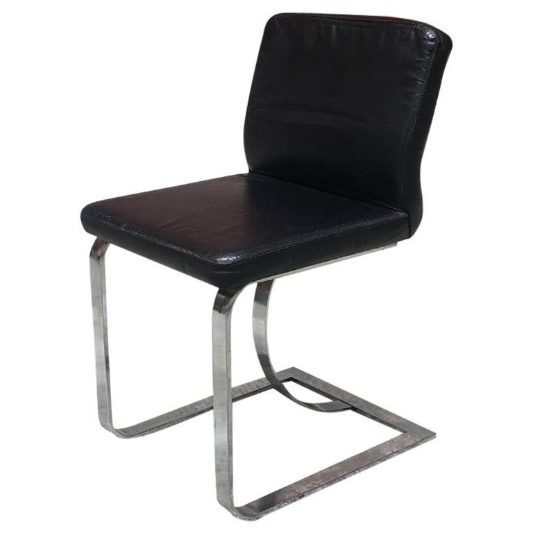 Italian Mid-Century Modern Black Leather Chair with Chromed Structure, 1970s For Sale