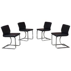 Italian Mid-Century Modern Black Leather Chairs with Chromed Structure, 1970s
