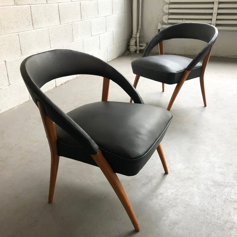 Italian Mid-Century Modern Black Vinyl Lounge Chairs In Good Condition For Sale In Brooklyn, NY