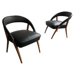 Italian Mid-Century Modern Black Vinyl Lounge Chairs