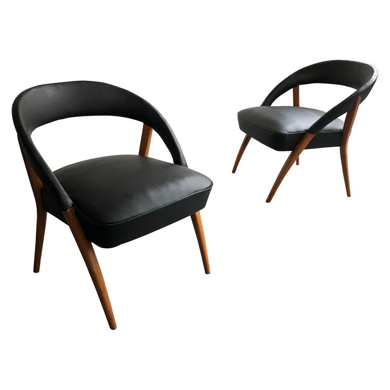 Italian Mid-Century Modern Black Vinyl Lounge Chairs For Sale