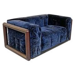 Italian Mid-Century Modern Blue Corduroy Sofa Cornaro by C. Scarpa, Gavina, 1973