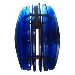Italian Mid-Century Modern Blue Glass Chandelier or Pendant by Veca