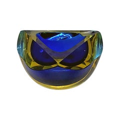 Italian Mid-Century Modern Blue Murano Glass Ashtray with Yellow Shades, 1970s