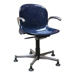 Italian Mid-Century Modern Blue Plastic Swivel Chair with Armrests, 1970s
