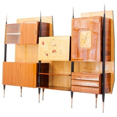 Italian Mid-Century Modern Bookshelf with Bar, 1950s