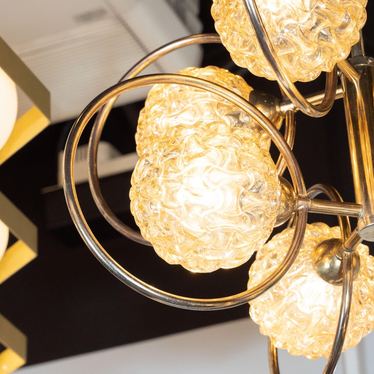 Italian Mid-Century Modern Brass and Champagne-Colored Textural Glass Chandelier In Distressed Condition For Sale In New York, NY