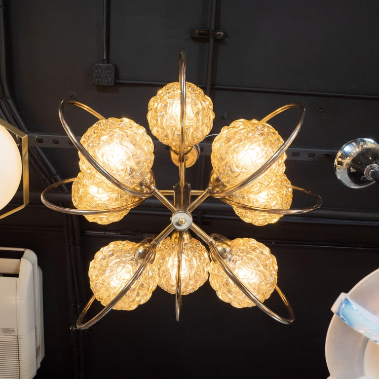 Italian Mid-Century Modern Brass and Champagne-Colored Textural Glass Chandelier For Sale 2