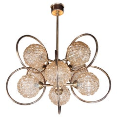 Italian Mid-Century Modern Brass and Champagne-Colored Textural Glass Chandelier