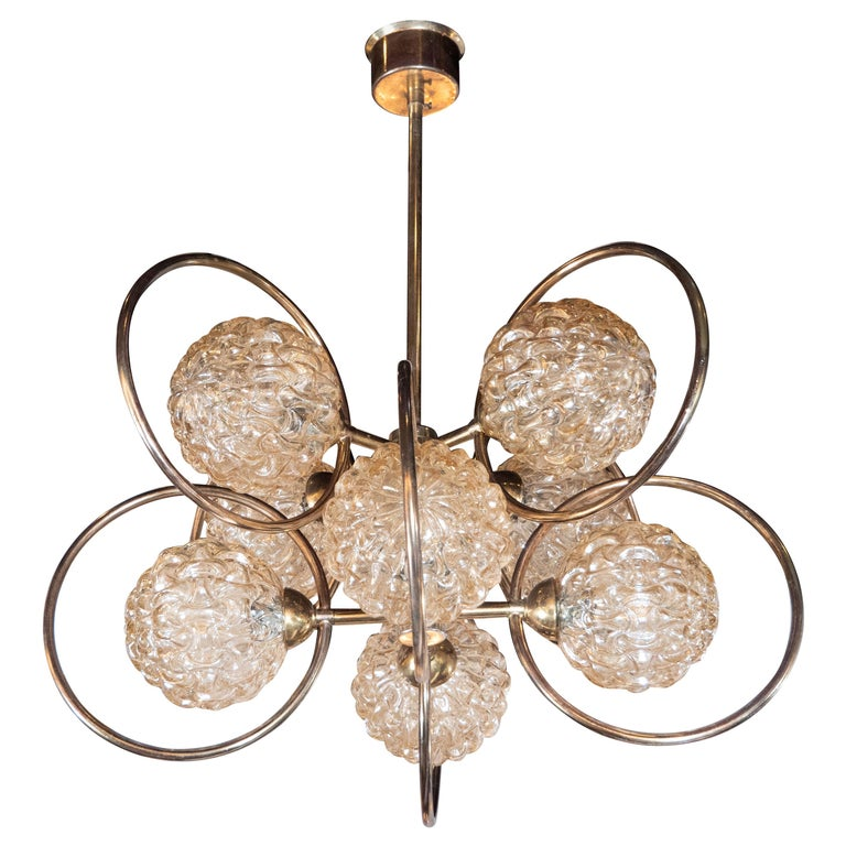 Italian Mid-Century Modern Brass and Champagne-Colored Textural Glass Chandelier For Sale