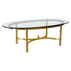 Italian Mid-Century Modern Brass and Glass Coffee Table