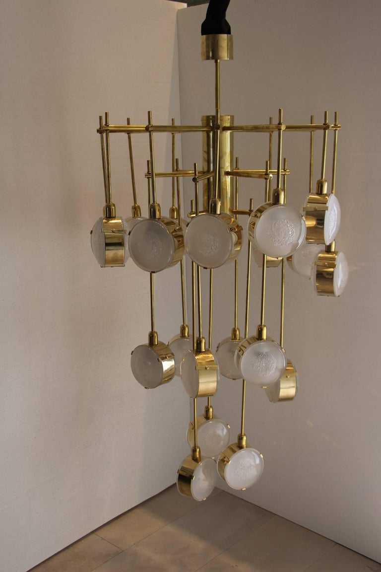 Italian Mid Century Modern Brass And Glass Long Chandelier For 3