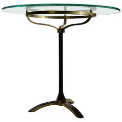 Italian Mid-century Modern Brass and Glass Side Table