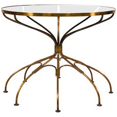Italian Mid-Century Modern Brass and Glass Spider Side Table