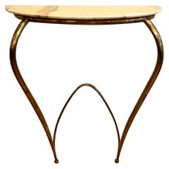 Italian Mid-Century Modern Brass and Marble Console, 1940