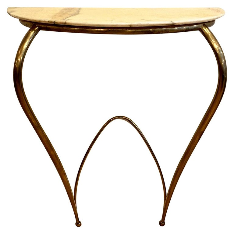 Italian Mid-Century Modern Brass and Marble Console, 1940 For Sale