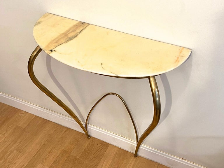 Italian Mid-Century Modern Brass and Marble Console, 1940 In Good Condition For Sale In Madrid, ES