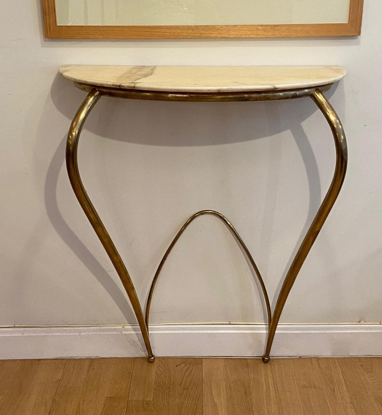 Mid-20th Century Italian Mid-Century Modern Brass and Marble Console, 1940 For Sale