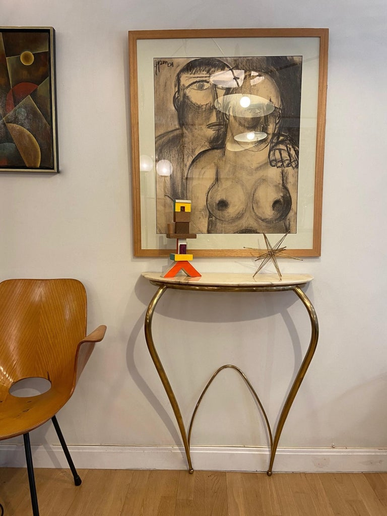 Italian Mid-Century Modern Brass and Marble Console, 1940 For Sale 1