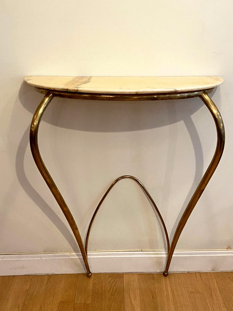 Italian Mid-Century Modern Brass and Marble Console, 1940 For Sale 2