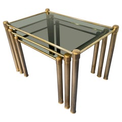 Italian Mid-Century Modern Brass and Smoked Glass Nesting Tables, 1970s